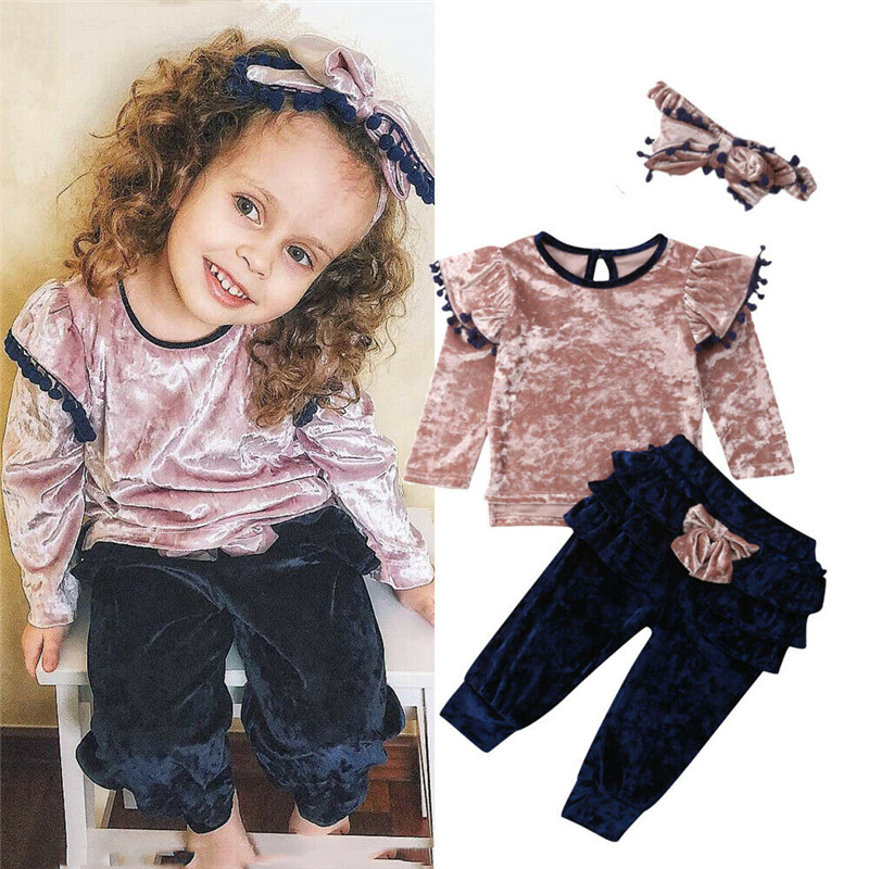 3PCS Toddler Baby Girls Clothes Tassel Top Bow Pant Headband Outfits Set Sunsuit