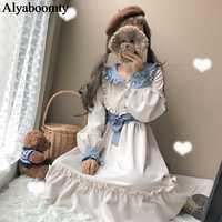 日本プレッピースタイル女性ロリータ姫ドレスピーターパン襟コントラスト色甘いパーティードレスエレガントなかわいいフリルドレス