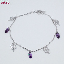 Clover Real Pure Solid 925 Sterling Silver Fine Jewelry Women Anklets Amethyst Austrian Crystal Bohemia Fashion Foot Charm