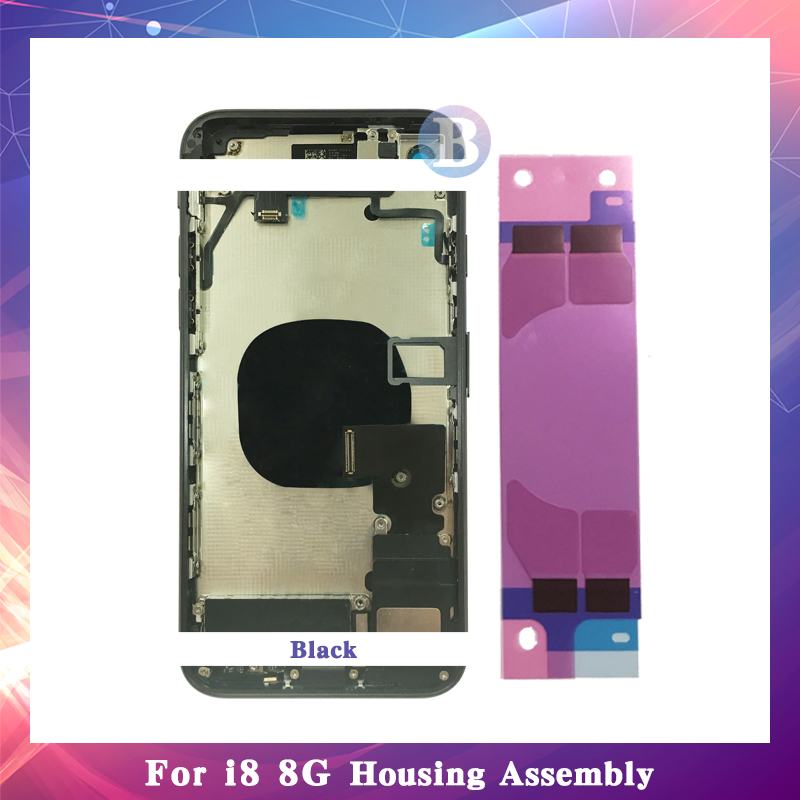 Haute Qualité Pour iphone 8 8g ou 8 Plus X avec Flex Câble Retour Logement Assemblée Complet Couvercle de La Batterie Porte arrière Cadre Moyen Châssis