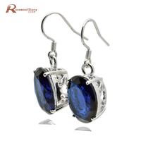 classic authentic 925 sterling silver vintage earring carving decoration spherical female blue stone crystal earrings for women