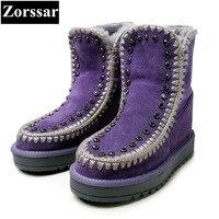 Zorssar 2017 NEW Winter Warm Plush Womens Boots Cow Suede Flat Heel Ankle Platform Snow