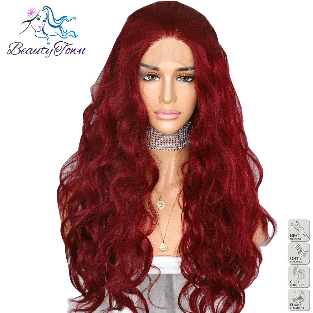 BeautyTown Red Color Natural Curly Wave Heat Resistant Hair Women Makeup Wedding Party Gift Synthetic Lace