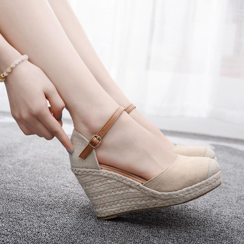 Shoe Platform High-Heels Fashion Mary Jane Slope Wild with Hemp Rope Weaving Round-Head