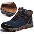 2016 Winter Men Snow Boots Natural Leather Men Winter Boots Blue Khaki