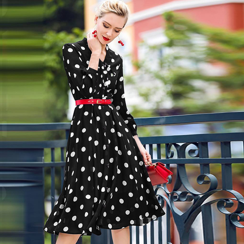 Ever Pretty Homecoming Dresses 2020 Cheap A-line Polka Dot Cocktail Party Gowns Vintage Knee-Length Short Girls Graduation Dress
