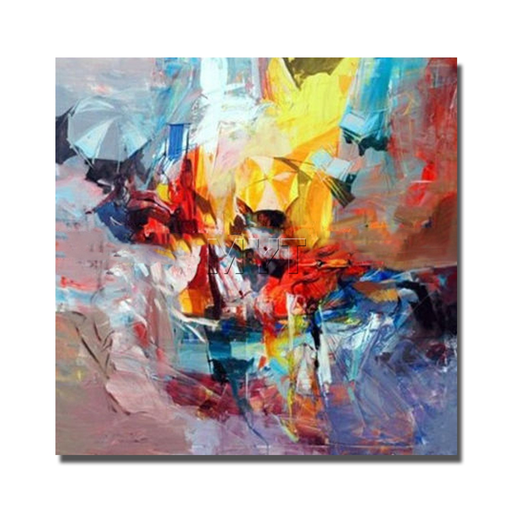 Square colorful abstract painting on canvas wall pictures for Modern art paintings for home