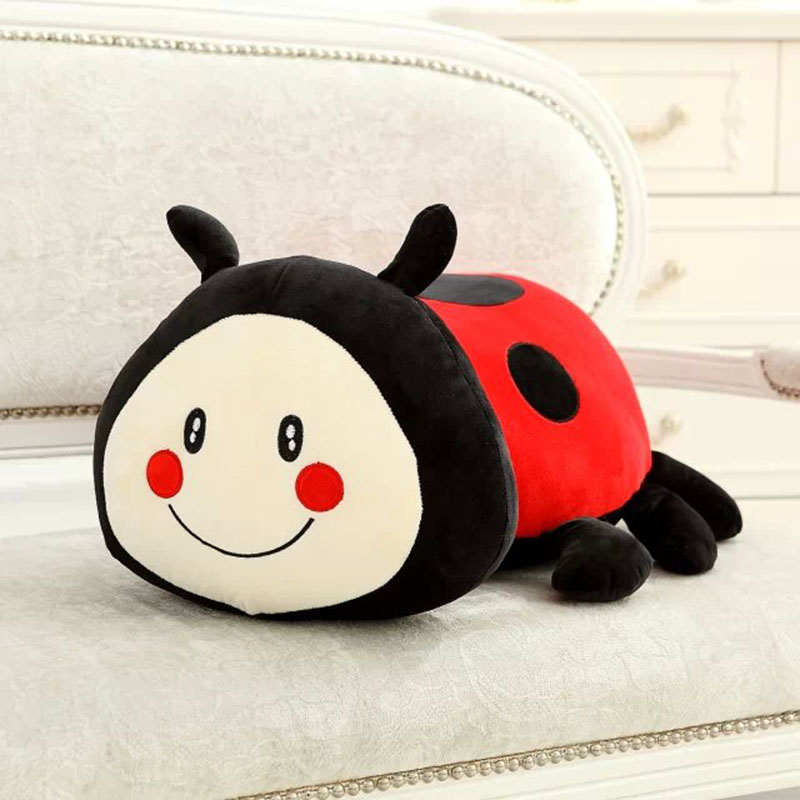 Ladybug Plush Toy Cute Ladybug Stuffed Plush Pillow Creative Doll Super Soft Sofa Decorative Pillow Children Kids Toys 1pcs 22cm fluffy plush toys white eyebrows cute dog doll sucker pendant super soft dogs plush toy boy girl children gift