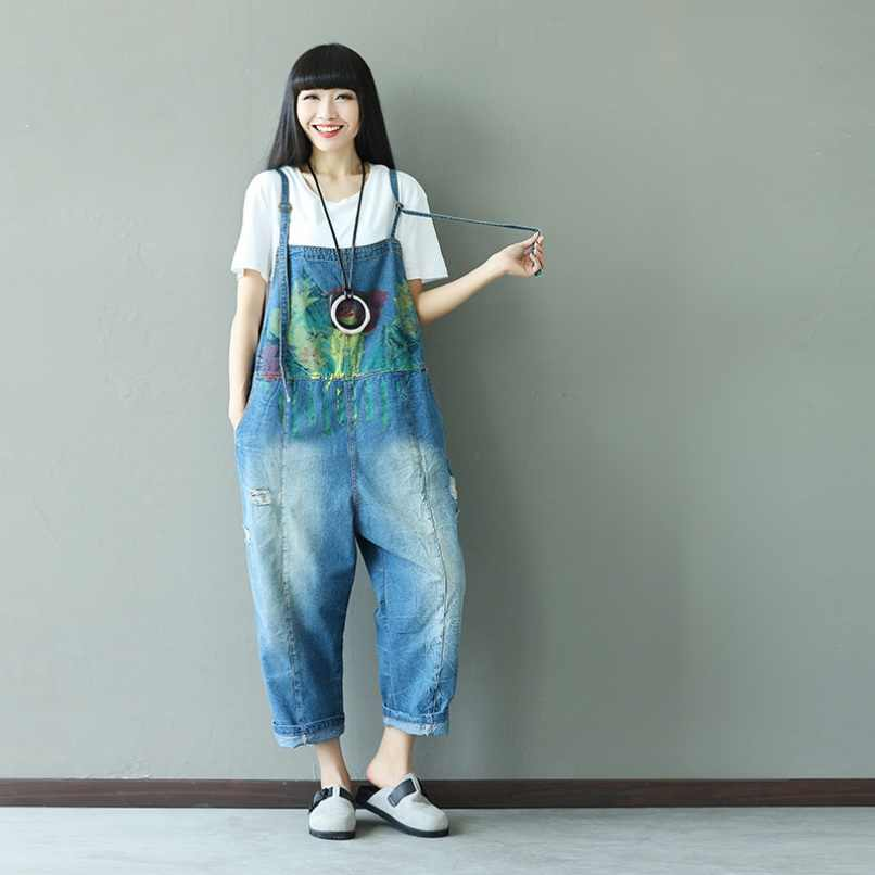 df82ade8173d Denim Overalls Women Ankle Length Painted Jumpsuits Plus Size Loose  Bleached Ripped Jeans Jumpsuits