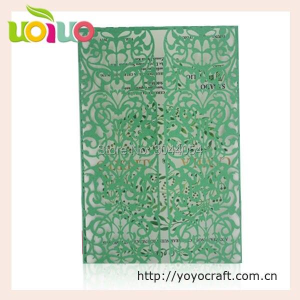 Professionelle Chinesischen Lieferanten Einladungskarte Hochzeit Grüne  Farbe Laser Cut 3d Hochzeitskarten Blume Zweig Design Mit Umschlag