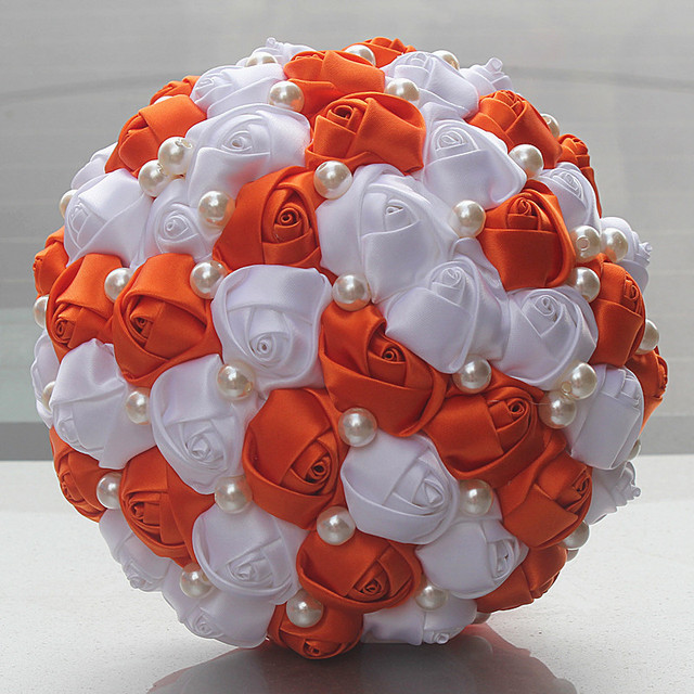 Orange white rose flower pearl beads bridal wedding bouquet simple orange white rose flower pearl beads bridal wedding bouquet simple half ball ribbon hand holding bouquet mightylinksfo