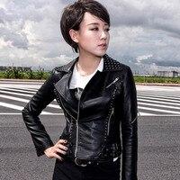 New 2016 Autumn Women Short Black Pu Leather Jackets Rivet Plus Size Coats Casual Ladies Clothing