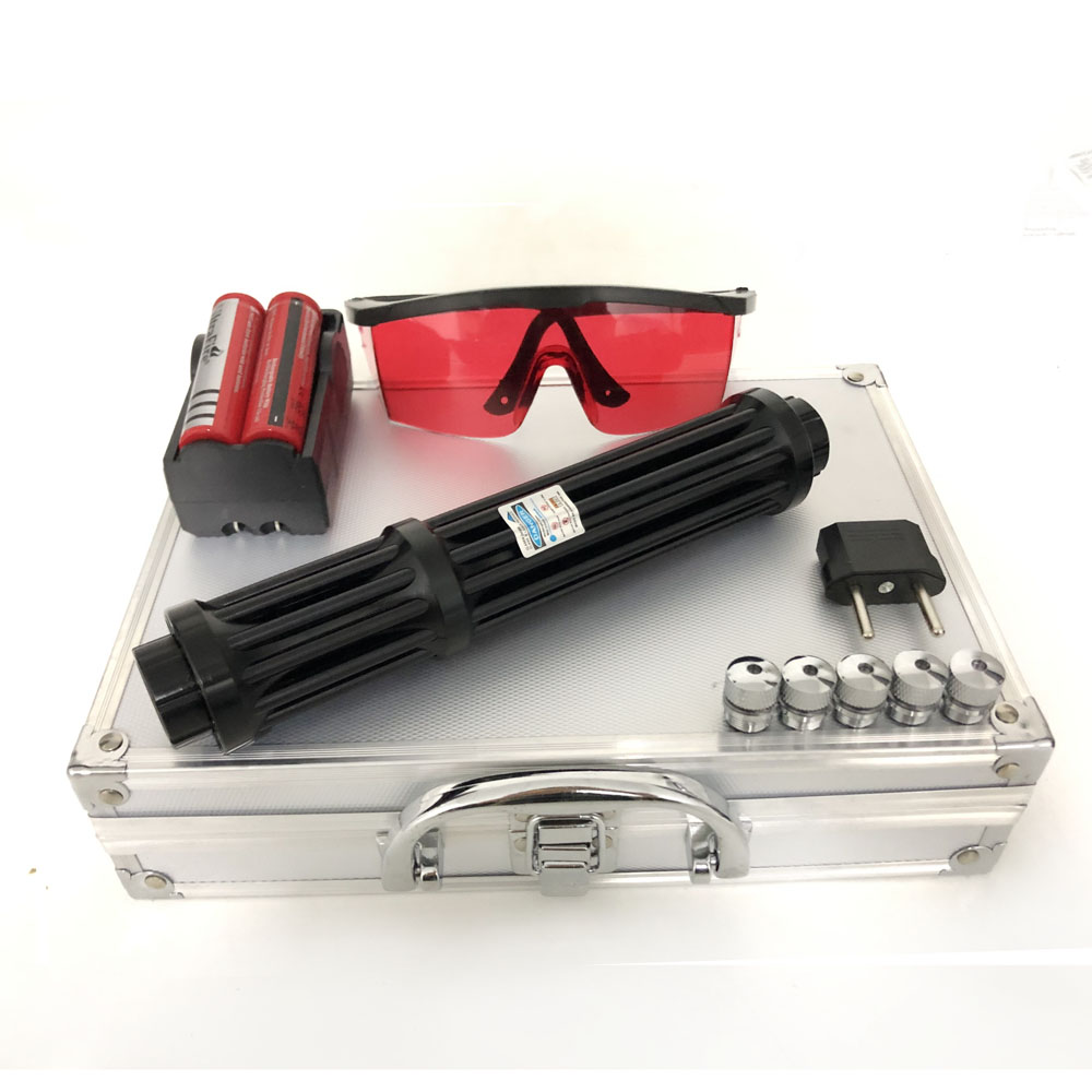 High Power 1.6.W Lengthen Blue Laser Pointers 450nm Lazer sight Flashlight Burning Match/Burn cigars included 18650 battery
