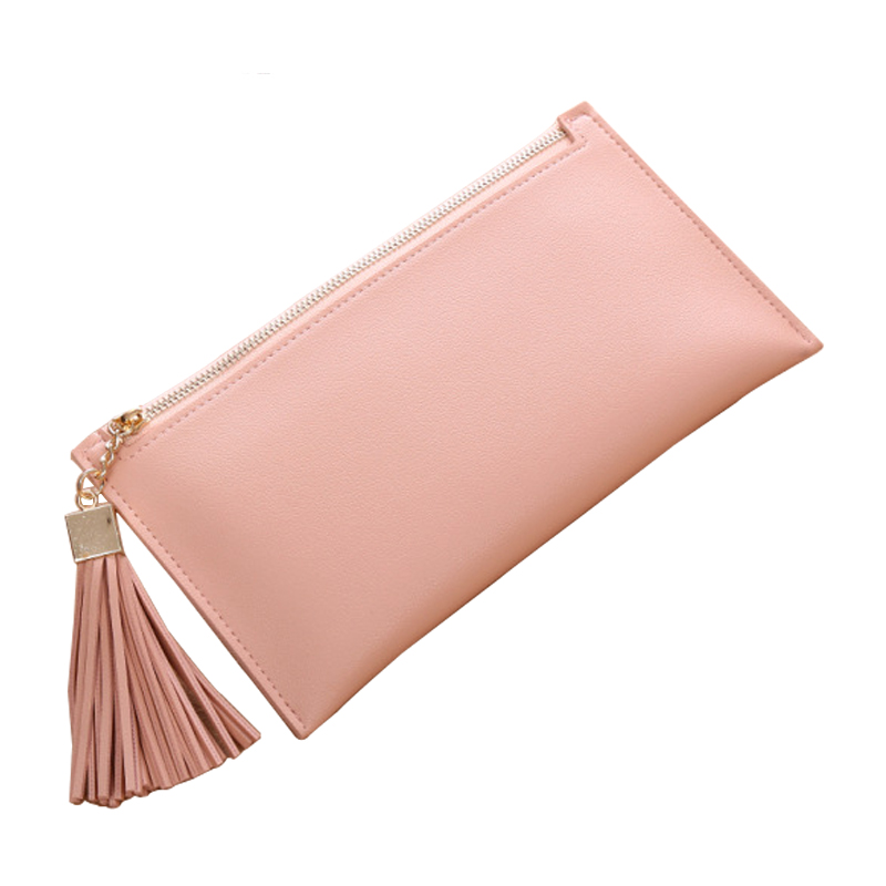 Womens Wallets And Purses Leather Wallet Female Long Slim Coin Purse Famous Brand Clamp For Money Handy Women New Tassel Clutch free shipping new women s wallet cowhide genuine leather wallet for women famous brand wallet plaid shape hot cute women purses