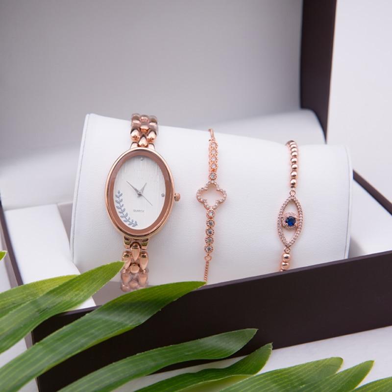 Fashion Women Watches Luxury Rose Gold Dress Eye of Devil Bracelet Wristwatch Ladies Dress Quartz Watch Set Clock With box