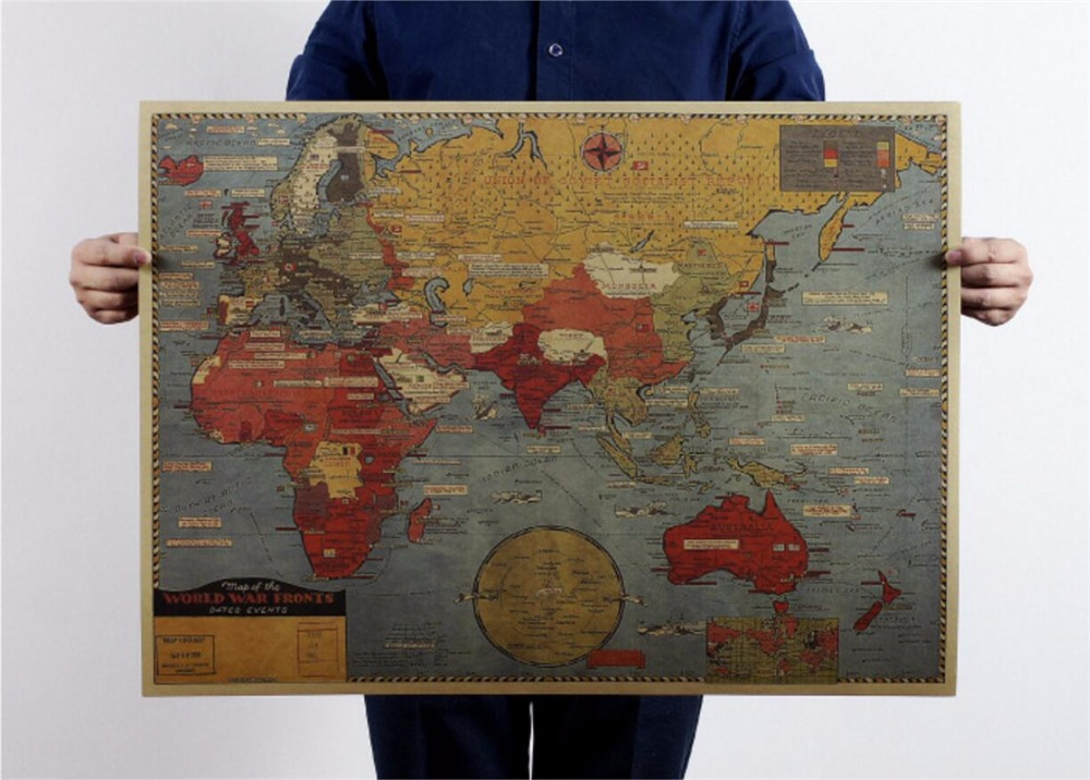 Large Vintage World War II The Situation Old Map Poster