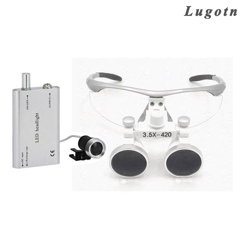 все цены на 3.5X times magnifier with led headlamp binocular lens antifog optical glasses medical loupe surgical enlarger онлайн