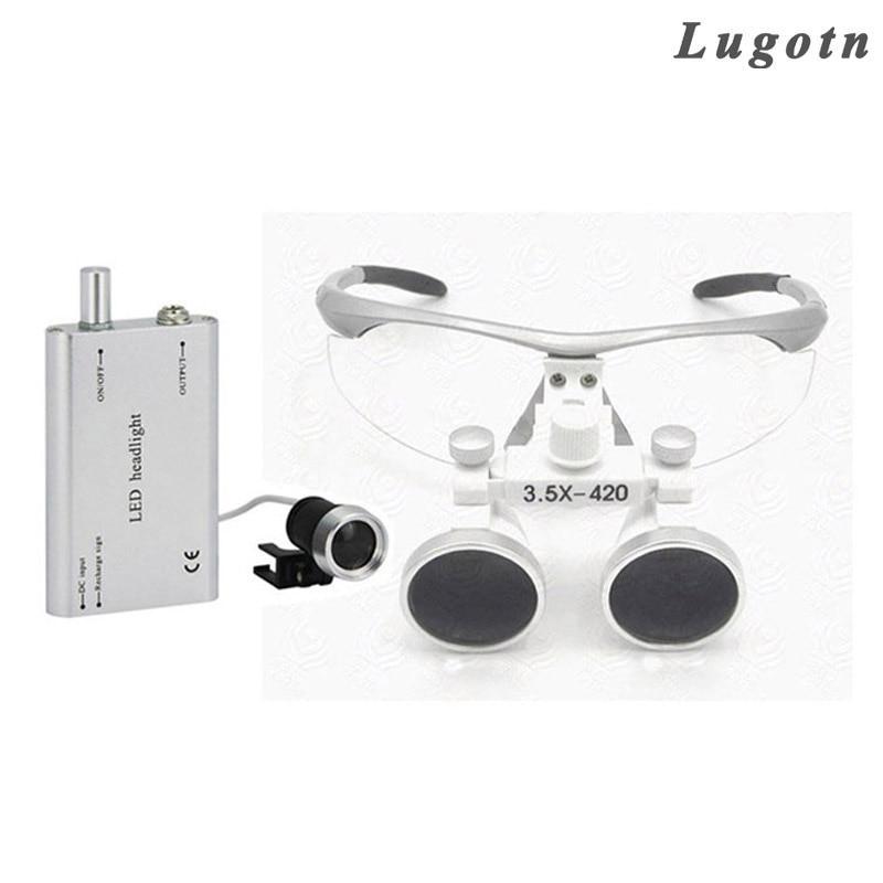 Здесь продается  3.5X times magnifier with led headlamp binocular lens antifog optical glasses medical loupe surgical enlarger  Инструменты