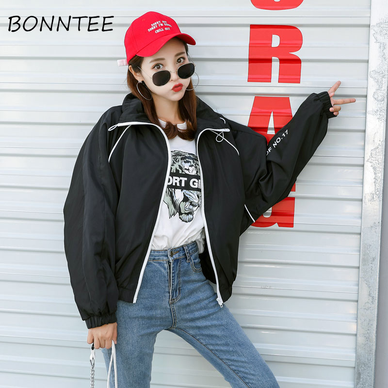 Women   Jackets   Zipper Letter Printed All-match Loose Stand Collar   Basic     Jackets   Womens New Chic Fashion Colorful Casual Outerwear