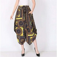6c70382e080b 2018 Plus Size Spring Summer Casual Vintage Cotton Linen Pants Women  Elastic High Waist Wide Leg
