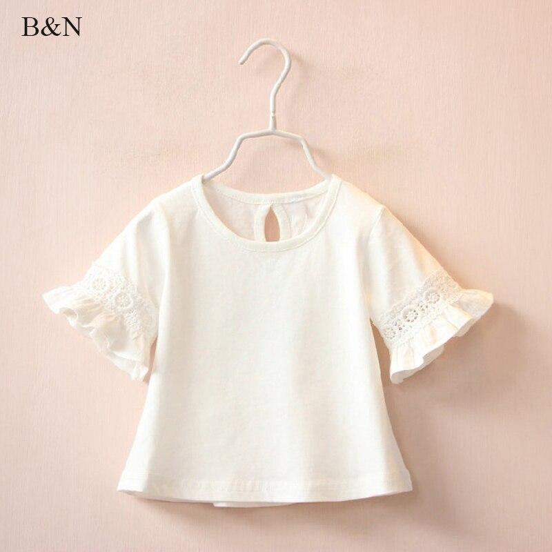 Buenos Ninos/летние кружевные хлопковые футболки для девочек для маленьких девочек короткий рукав детская одежда Блузка Футболка