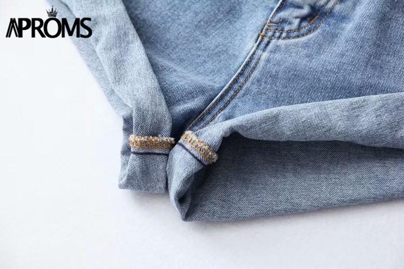 Aproms Casual Blue Denim Shorts Women Sexy High Waist Buttons Pockets Slim Fit Shorts 2019 Summer Beach Streetwear Jeans Shorts 51