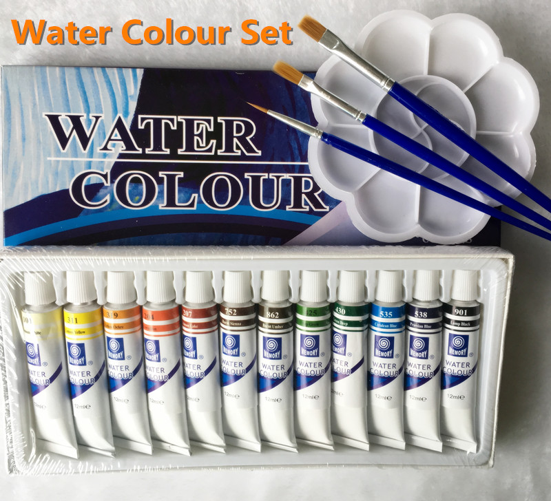 Professional Brand Watercolor Paint Childrens Creative Watercolor Kit Rainbow Art Painting 12 Tube Free For Brush And Tray