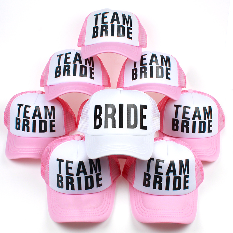 Top selling BRIDE printing baseball cap for wedding party TEAM BRIDE snapback hat for women female casual hats wholesale korean style pink lace linen wedding hat for bride fabric flower fascinator top hat hair clip fashion women party headdress new