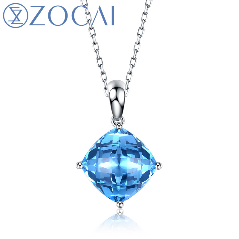 Real 18K white gold Genuine 5.0 CT Blue Topaz Pendant with 925 Sterling Silver Chain Necklace D03439