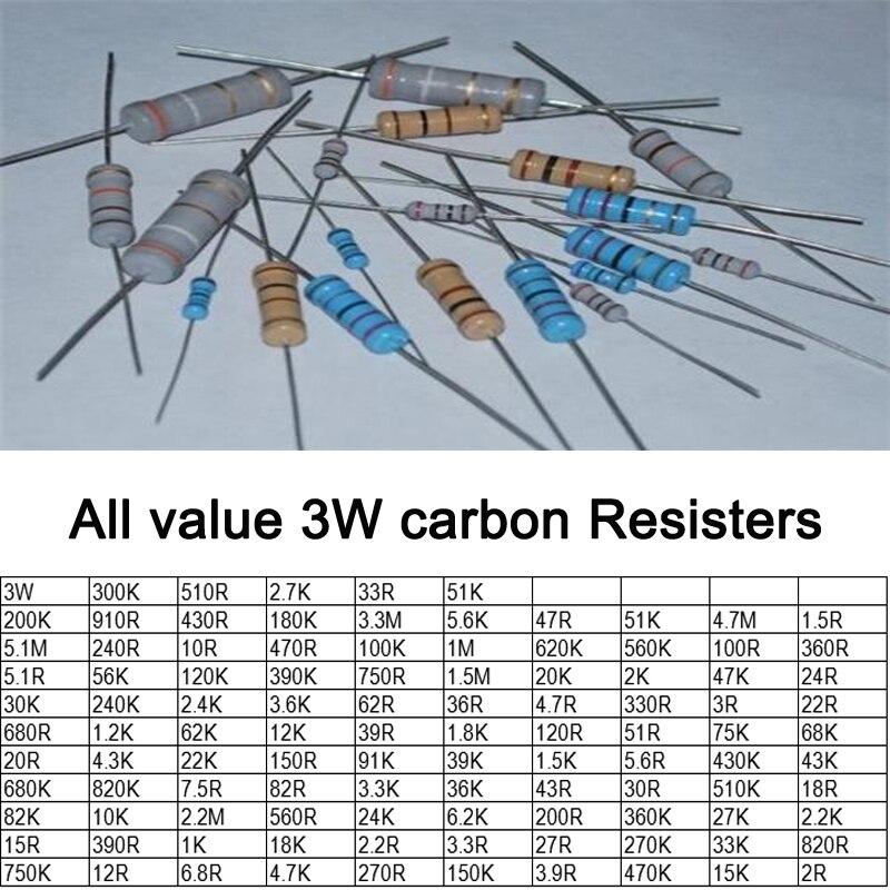 Free ship with track 100pcs 15R 3W DIP Resistors carbon Resisters 3W 15ohm 5% Carbon Film Resistor