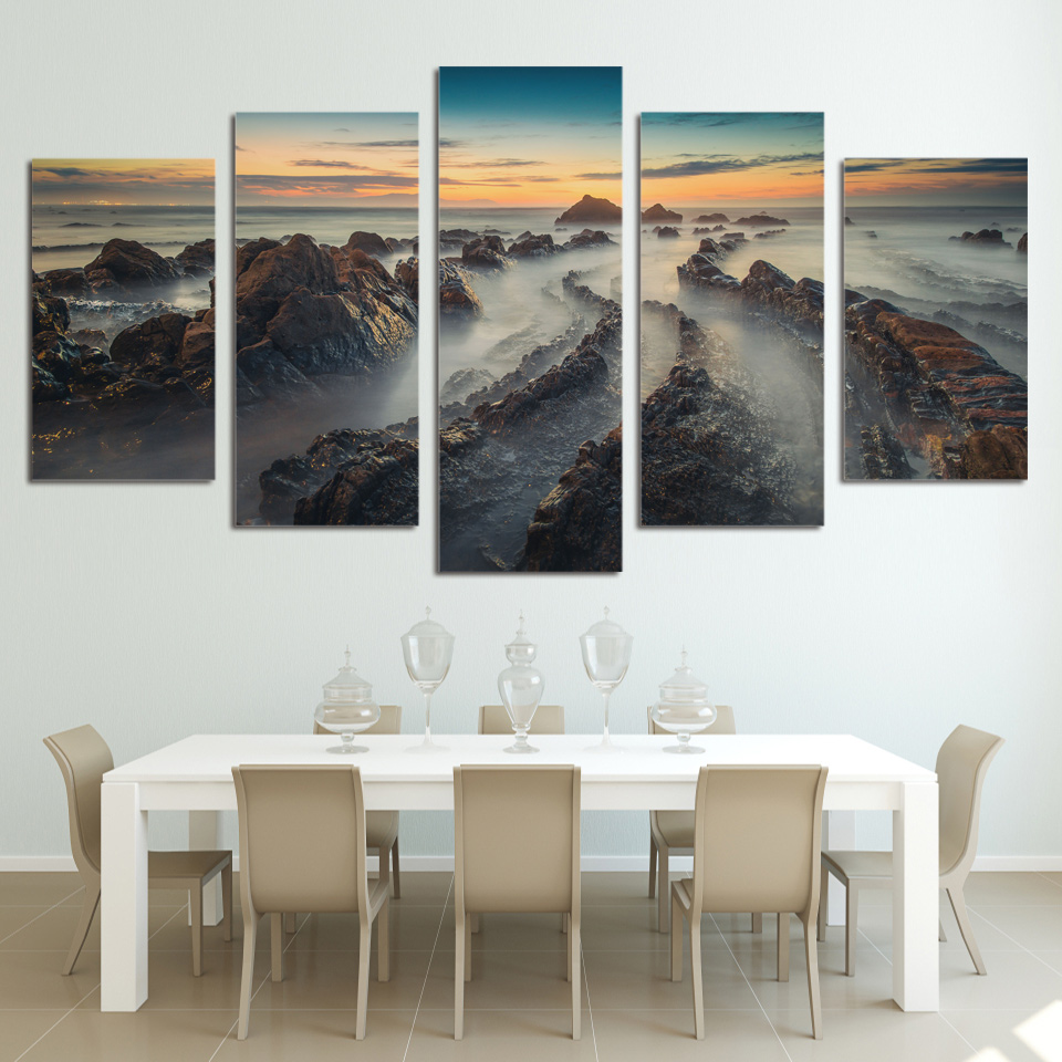 Aliexpress buy hot sale 5 pcs sets mountains and clouds aliexpress buy hot sale 5 pcs sets mountains and clouds landscape canvas art paintings sunset wall hanging stickers for home or office decor from amipublicfo Gallery