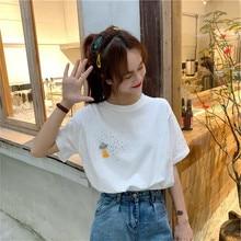 Women T Shirts Street Fashion Summer Shirt 2019 New Embroidery Astronaut Print Casual Slim Tops T-Shirts Plus Size
