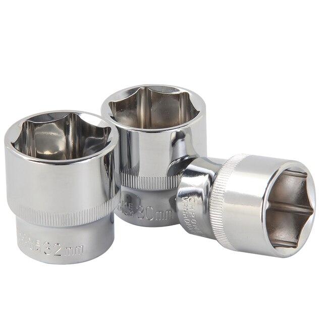 Llave de vaso de todos los tamaños, 1/4 3/8 1/2 pulgadas, TAMAÑO MÉTRICO, 6 puntos, unidad superficial Individual, herramienta de enchufe, Material CRV, 4 32mm