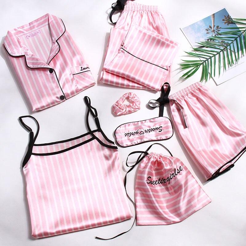 Women Faux Silk Pajamas 7 pieces Set Print Long Sleeves Button Sleepwear Ladies Summer Thin Pyjamas 7pcs/set