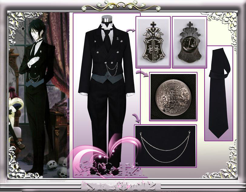 New Arrivel Black Butler 2 Kuroshitsuji Sebastian Cosplay Costume full suit cosplay free shipping