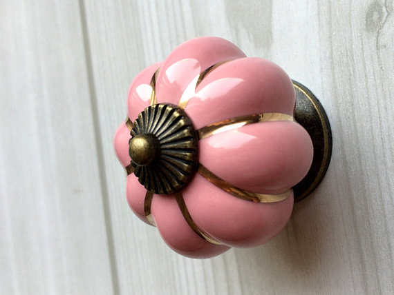 Pink Cabinet Knobs Pumpkin Knobs Kitchen Dresser Knob Drawer  Handles Ceramic Porcelain / Antique Bronze Decorative Hardware pastoralism pumpkin ceramic knob kitchen ceramic door cabinets cupboard knob and handles 1pcs