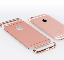 Luxury Gold Hard Case For iphone 5 5S SE 6 6S Plus 7 7 Plus 4.7 5.5 Inch Back Cover Coverage Removable 3 in 1 Funda Cases