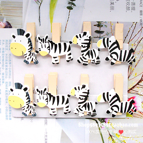 8PCS Cute Horse Zebra Wooden Clothespin Office Supplies Photo Craft Clips DIY Clothes Paper Peg Party Decoration