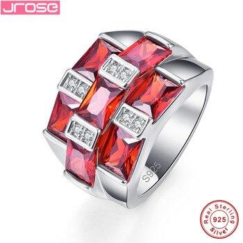 Jrose оптовая продажа классический красный гранат белый кубический цирконий кольцо из стерлингового серебра 925 Размер 6 7 8 9 Withe Подарочная кор... >> jrose jewellery Store