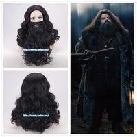 Harry Potter Mens Rubeus Hagrid black long wavy wig with beard Rubeus Hagrid role play costume