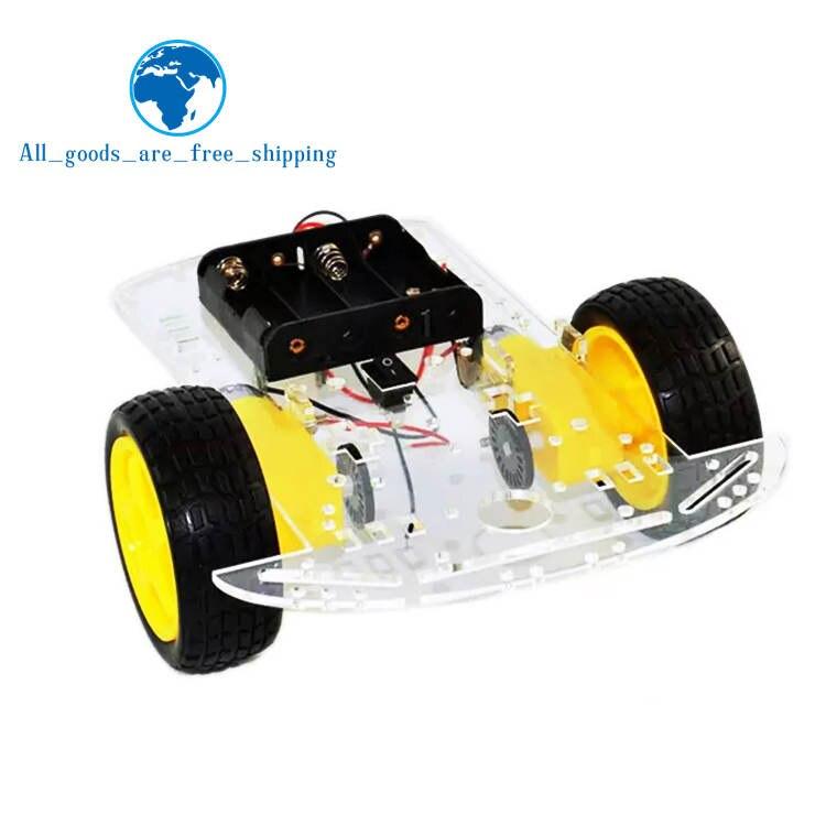 TZT nouveau moteur intelligent Robot voiture châssis Kit vitesse encodeur batterie boîte 2WD pour Arduino livraison gratuite
