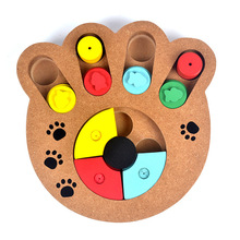 Eco-friendly pet cat dog Interactive toys for dogs and cats Food treated wooden pet feeder educational pet bone paw puzzle toys
