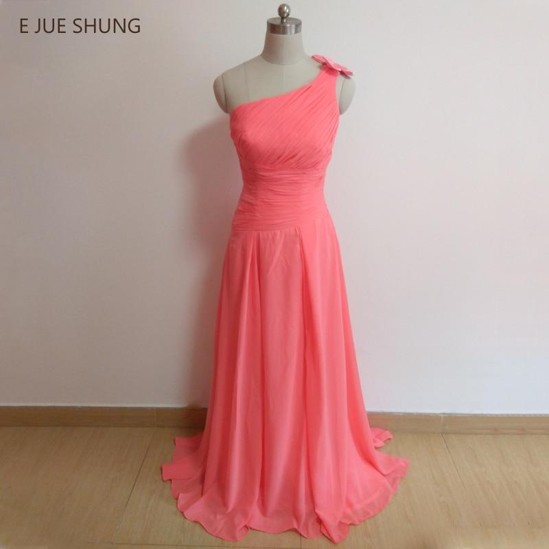 E JUE SHUNG Coral   Dress   Chiffon One shoulder Cheap   Bridesmaid     Dresses   Long 2018 Floor length A-Line Wedding Party   Dresses