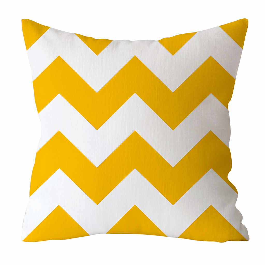 Gajjar Yellow Geometric Nordic Cushion Cover Throw Pillow Cover Polyester Cushion Case Home Sofa Bed Decorative Heart Pillowcase