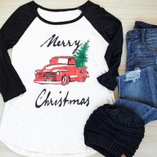 2017 S-2XL Merry Christmas Letter Car Pine Printed Women T-Shirts Three Quarter Sleeve Splice Autumn Casual Loose Female Top Tee