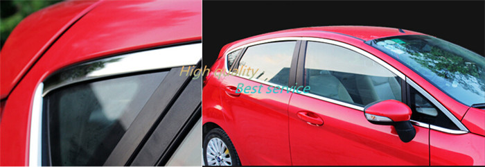 16 pcs stainless steel car side window frame edge trim kit stripe suitable for ford new fiesta 2009 2010 2011 2012 2013 2014 in chromium styling from - Window Frame Kit