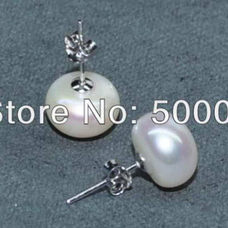 ae3de44c5abe Cheap Perla Natural de 10mm blanco perla de agua dulce pendientes de  pendiente de plata 925