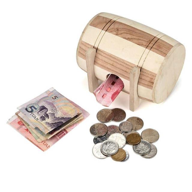 New 1pc Creative Wooden Piggy Bank Safe Money Box Savings Wine Barrel Wood Carving Handmade Best Gift 15