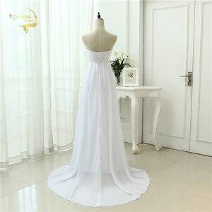 Image 2 - Vestido de novia sin tirantes, traje Empire, para embarazadas, de gasa, blanco marfil, largo, de talla grande, 2020