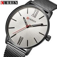 CURREN Luxury Brand Quartz Watch Men S Black Casual Business Stainless Steel Mesh Band Quartz Watch